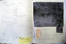 "He Named Her Amber - Projectbook III: left: installation-notes September; right: concept of referencing Jeff Wall's ""Fieldwork"", 2008"