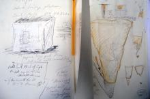 He Named Her Amber - Projectbook III: Left: notes and sketch of plastering over the Hidden Chamber; Right: notes about casting Object #17, 2008