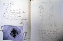 He Named Her Amber - Projectbook III: Notes about the researcher's character, photograph of probe hole in the 1840s Kitchen, 2008