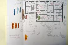 He Named Her Amber - Projectbook II: Map of The Grange's basement with notes and colour samples, 2008
