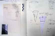 He Named Her Amber - Projectbook IV: Left: notes and rubbing regarding the excavation under the Pandora- statue; Right: excavation-notes regarding Object # 17, 2008