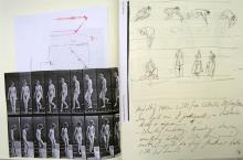He Named Her Amber - Projectbook IV: Left: photocopy of an Eadweard Muybridge photograph: Woman walking downstairs; Right: notes and sketches preparing the reference work to Eadweard Muybridge - Model digging conical hole, 11 October 2008