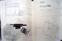 He Named Her Amber - Projectbook III: Notes, rubbing of my Nanabozho logo and sketches in preparation of excavations, 2008