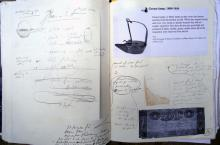 He Named Her Amber - Projectbook III: Notes, photocopies and sketches regarding household objects of Amber's time period, 2008.