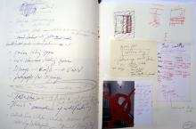 "He Named Her Amber - Projectbook III: Left: ""to do"" list of one weekend; Right: photocopies, sketches and notes regarding two excavation sites in the basement, 2008"