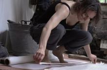 "Iris Hauessler working on ""Dust at Dawn"" 02"