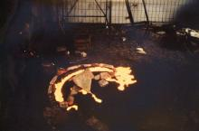 We were a group of art students: self-built iron-oven for some experimental cast, Lower Bavaria. 1986-88