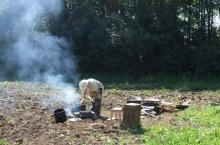 Casting bees-wax into caveties dug in a field in Hillier, 2009
